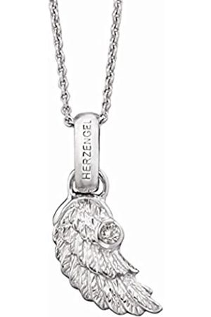 HERZENGEL Necklace with Little Wings Pendant for Girls 925-Sterling Rhodium Plated studded with a White Zirconia Length 37 cm plus 2 cm