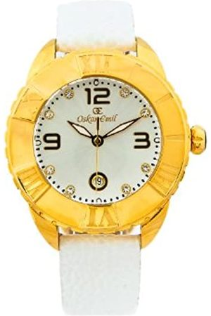 Oskar Emil Celine Gold IP Plated Watch for Ladies with Crystals Dial Analogue Display and Leather Strap Celine G