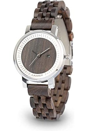 Laimer Wood watch JULIA – women's wristwatch made of 100% Sandalwood with stainless steel case and Swarovski crystals