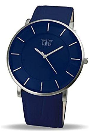 Davis 0915 - Mens Womens Design Ultra Thin Watch Dial Leather Strap