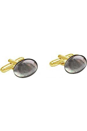 GemShine Cufflinks - 18k gold plated - Black Mother of Pearl - 16mm