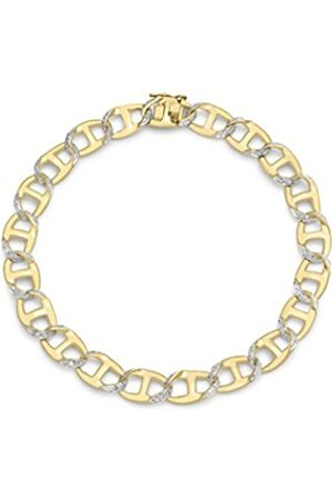 Carissima Gold 9 ct Yellow Gents Diamond Curb Bracelet 21.6 cm/8.5 inch