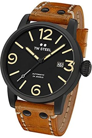 TW steel Maverick Men Automatic Watch with Dial Analogue Display and Brown Leather Strap MS36