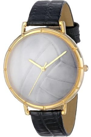 Whimsical Volleyball Lover Black Leather and Goldtone Photo Unisex Quartz Watch with Dial Analogue Display and Leather Strap N-0840015