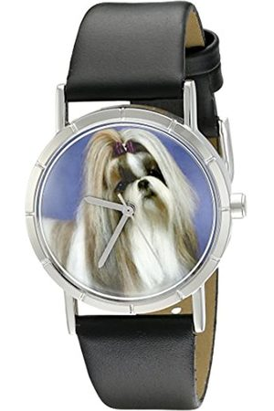 Whimsical Shihtzu Black Leather and Silvertone Photo Unisex Quartz Watch with Dial Analogue Display and Leather Strap R-0130069
