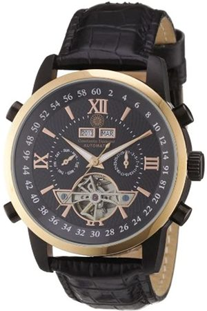 Constantin Durmont Men's Automatic Watch CD-CALE-at-LT-IPRG-BK with Leather Strap