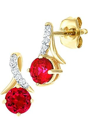 Naava 9ct Yellow Gold Round Ruby and Diamond Twist Drop Earrings
