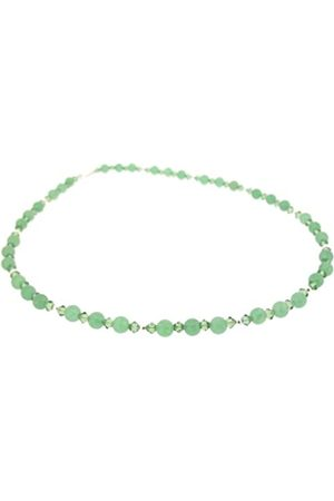 Earth Aventurine and Swarovski Crystal Beaded Necklace at 48cm in Length