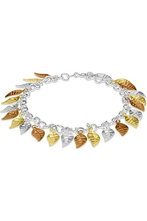 "Tuscany Silver Sterling Silver 3 Tone Leaf Drop Bracelet of 19cm/7.5"""