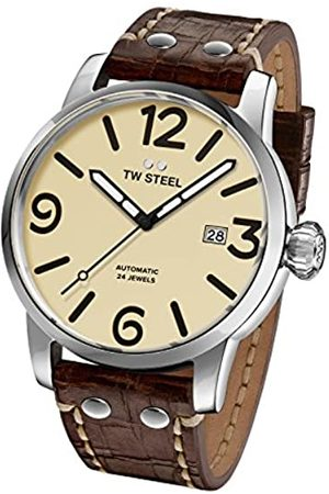 TW steel Maverick Unisex Automatic Watch with Beige Dial Analogue Display and Brown Leather Strap MS25