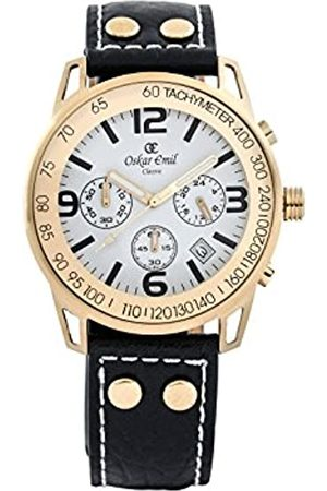 Oskar Emil Oskar-Emil Classic Chronograph Conquest Gold/ Men's Quartz Watch with Dial Analogue Display and Leather Strap