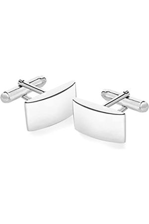 Tuscany Silver Women's Sterling Rectangular Plain Curved Cufflinks of 21 x 11 mm