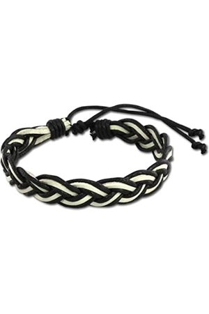SilberDream Unisex Bracelet with Knot Fastener Leather VLAP533S /White