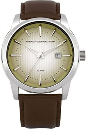 French Connection Men's Quartz Watch with Dial Analogue Display and Leather Strap FC1111ST