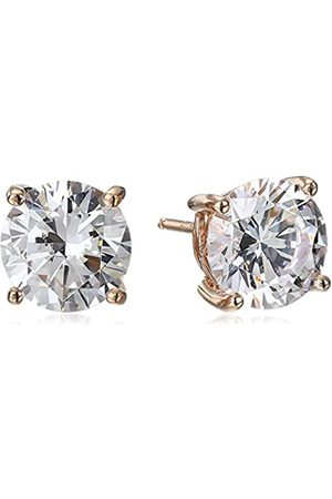 La Lumiere Rose Plated Sterling Silver Made with Cubic Zirconia from Swarovski® (5cttw) Round Stud Earrings
