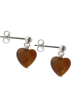 Earth Tiger's eye Heart Drop Earrings on Sterling Silver Ball Stud - from the Collection