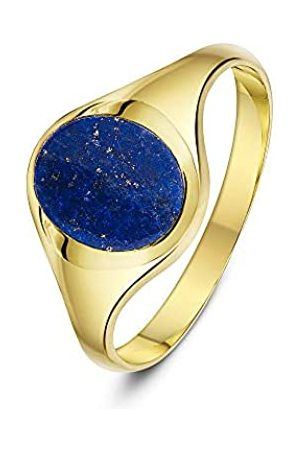 THEIA Men's 9 ct Yellow Gold Oval Shape Blue Lapis Stone Signet Ring with 10 x 8 mm