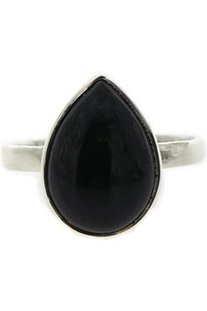 Nova Silver Bemine Small Tear Onyx Ring In Size N