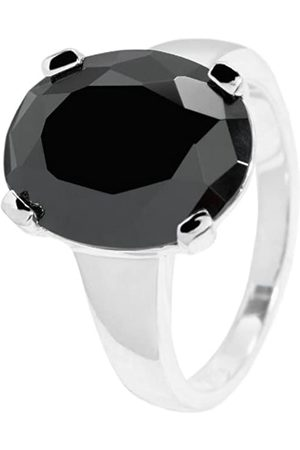 Carlo Monti Women's Ring 925 Sterling Silver Rhodium-Plated Oval Zirconia Crystals in Prong Setting JCM 105–111 17mm
