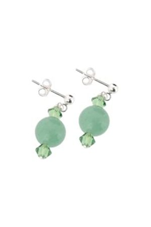 Earth Aventurine and Swarovski Crystal Beaded Earrings at 2.5cm in Length