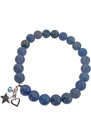 Earth Aventurine Beaded Stretch Bracelet with Sterling Heart and Star Charms and Swarovski Crystal Bead - from the Collection