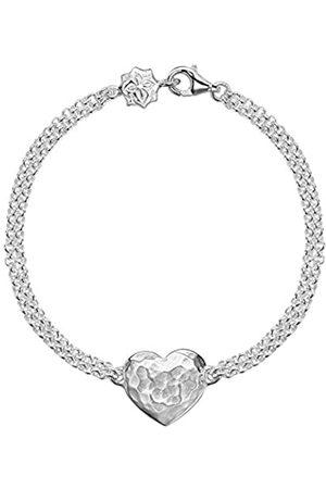 Dower & Hall Cherish Engravable Flat Heart Double Chain Bracelet of 18.5cm