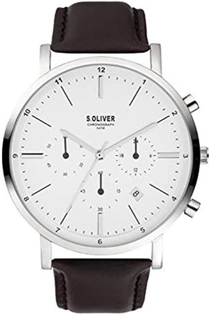 s.Oliver Mens Chronograph Quartz Watch with Leather Strap SO-3856-LC