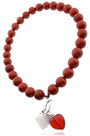 Earth Carnelian Heart and Sterling Silver Heart Charm on Jasper Beaded Stretch Bracelet - from the Collection