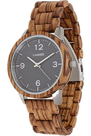 Laimer Men's Woodwatch ELIA Mod. 0087 zebrawood - Analogue Quartz-Wristwatch with gold-brown wood-strap