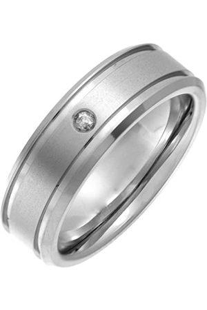 THEIA Titanium Flat Court 0.05ct Diamond Matt and Groove 7mm Ring - Size L
