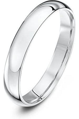 THEIA Unisex Heavy Weight 3 mm Court Shape Polished Platinum Wedding Ring - J