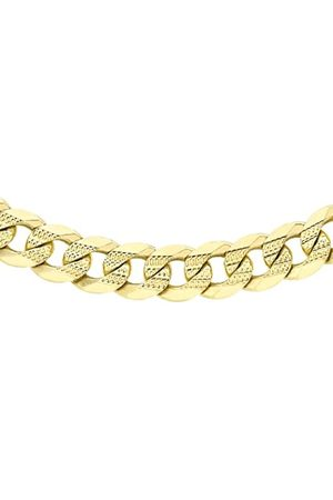 Carissima Gold Unisex 9 ct 5.7 mm Diamond Cut Patterned Flat Curb Chain Necklace of Length 51 cm/20 Inch
