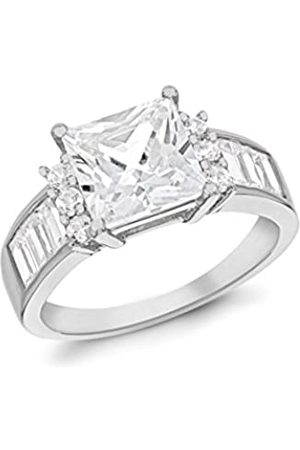 Tuscany Silver Sterling Rhodium Plated Sqaure Cubic Zirconia and Baguette Cut Ring - Size N