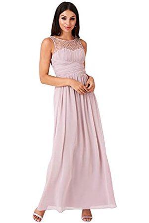 Little Mistress Mink Embellished Neck Maxi Dress 16 UK Mink