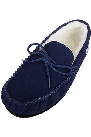 Snugrugs Men's Monty Wool Lined Suede Moccasin Slipper, (Navy)