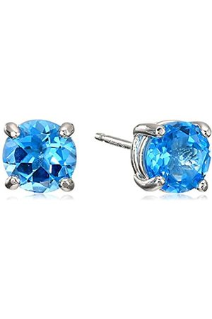 Amazon Sterling Silver Round Swiss Topaz Birthstone Stud Earrings (December)