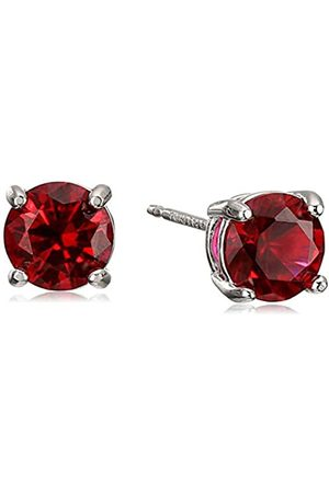 Amazon Sterling Silver Round Created Ruby Birthstone Stud Earrings (July)