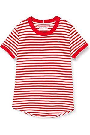 Tommy Hilfiger Girl's Essential Stripe TOP S/S T-Shirt, ( /Deep Crimson 0FA)