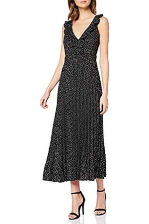 Dorothy Perkins Women's Luxe Mono Spot Ruffle Trim Pleated Midaxi Dress Casual