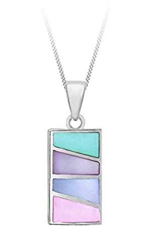 """Tuscany Silver Sterling Multicolour Mother of Pearl Rectangle Pendant on Adjustable Curb Chain of 41cm/16""""-46cm/18"""""""