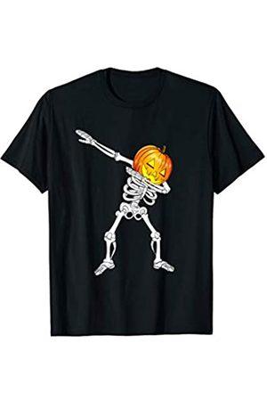 BUBL TEES Dabbing Skeleton Jack O Lantern Pumpkin Halloween Costume T-Shirt
