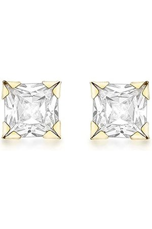 Carissima Gold Women's 9 ct Gold 3 mm Four Claw Square CZ Stud Earrings
