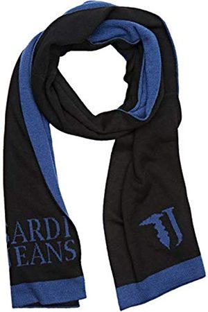 Trussardi Jeans Men's Knit Scarf Jacquard Logo Misto, ( + Blu K303)