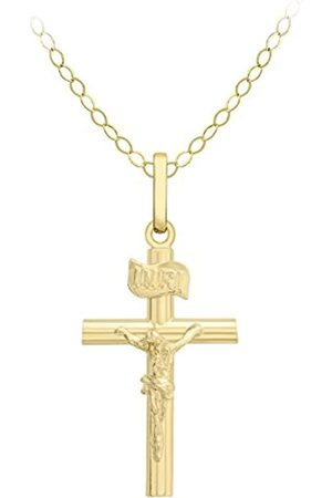 Carissima Gold 9 ct Crucifix Pendant on Trace Chain Necklace of 46 cm/18 inch