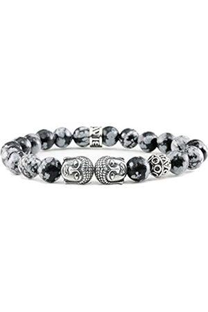 Davis Sterling Silver Buddha Bracelet Obsidian Snowflake Gemstones Beads Men's and Women's Jewelry (15)