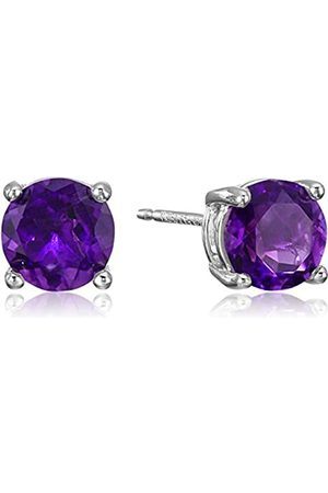 Amazon Sterling Silver Round African Amethyst Birthstone Stud Earrings (February)