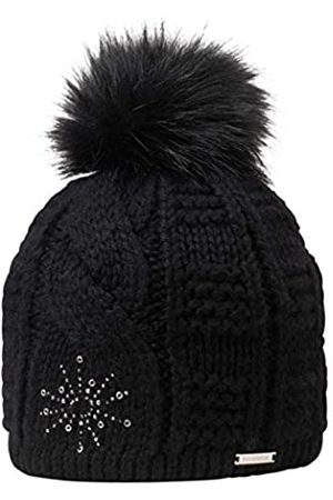 Giesswein Bobble Cap Honigstein ONE - Knit hat Ladies, Fake Fur Bobble, Warm Fleece Lining, with Rhinestones and Studs, Müte with Plait Pattern