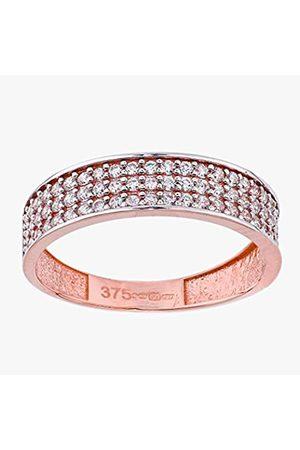Citerna Women's 9 ct Rose Three Rows Cubic Zirconia Half Eternity Ring