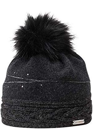 Giesswein Women Beanie Königsberg Anthracite ONE - Winter Cap Made of 100% Lambswool, Warm Fleece Lining, Fake Fur Bobble, Glittering Rhinestones and Glittering Yarn