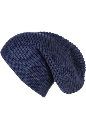 Black Beanies - Navy Cashmere Slouch Beanie